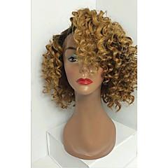 billiga Peruker och hårförlängning-Äkta hår Hel-spets Peruk Lockigt 130% Densitet Ombre-hår / Naturlig hårlinje / Afro-amerikansk peruk Dam Korta / Mellan / Lång Äkta peruker med hätta / 100 % handbundet