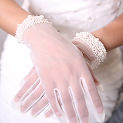 Breathable Mesh Tulle Wrist Length Glove Formal Simple Luxury Mesh Bridal Gloves Party/ Evening Gloves With Beading