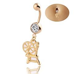 Dame Kroppsmykker Navle Ringer Geometrisk Luksus Smykker Chrismas Klassisk Elegant Zirkonium Strass Titanium Stål Geometrisk Form Smykker