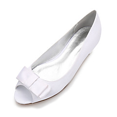 cheap Wedding Shoes-Women's Shoes Satin Spring Summer Comfort Ballerina Wedding Shoes Flat Heel Peep Toe Bowknot Satin Flower Flower for Wedding Dress Party