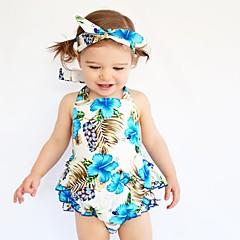 billige Babytøj-Baby Pige Blomster Trykt mønster Uden ærmer Bomuld Bodysuit