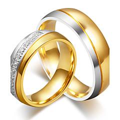 Herrn Damen Eheringe Kubikzirkonia Modisch Elegant Titan Stahl Runde Form Schmuck Für Hochzeit Verlobung Zeremonie