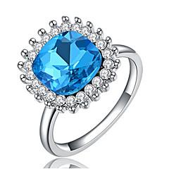 Settings Ring Band Ring Luxury Women's Euramerican Fashion Blue Square Style Birthday Wedding Movie Gift Jewelry