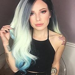 Χαμηλού Κόστους Συνθετικές περούκες με δαντέλα-Συνθετικές μπροστινές περούκες δαντέλας Φυσικό Κυματιστό Συνθετικά μαλλιά Φυσική γραμμή των μαλλιών Πράσινο Περούκα Γυναικεία Μακρύ Δαντέλα Μπροστά Πράσινη Μέντα Uniwigs