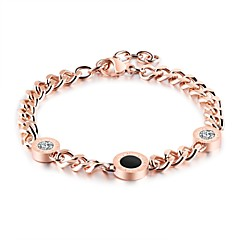 cheap -The Korean version of lady titanium steel Roman numeral round cake with diamond gold bracelet