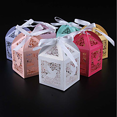 cheap Favor Holders-Cubic Pearl Paper Favor Holder with Ribbons Favor Boxes - 50