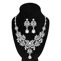 Women's Drop Earrings Necklace AAA Cubic Zirconia Vintage Luxury Elegant  Rhinestone Flower Shape Jewelry Set For Wedding Engagement Ceremony