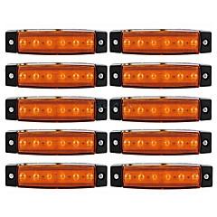 ziqiao 10pcs 12v 6ledサイドマーカーインジケータライトランプ車のトラックトレーラートラックバス6 led琥珀/白/赤