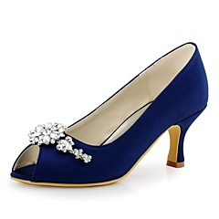 Women's Wedding Shoes Basic Pump Stretch Satin Spring Summer Wedding Party & Evening Crystal Stiletto HeelLight Pink Blue Green Navy Blue
