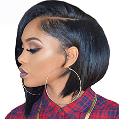 billiga Peruker och hårförlängning-Syntetiska snörning framifrån Rak / Yaki Bob-frisyr Syntetiskt hår Naturlig hårlinje Brun Peruk Korta L-formad hätta Svart