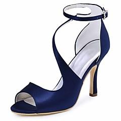 Damă pantofi de nunta Balerini Basic Satin Elastic Vară Nuntă Party & Seară Cataramă Toc StilettoNegru Albastru Închis Albastru Mov