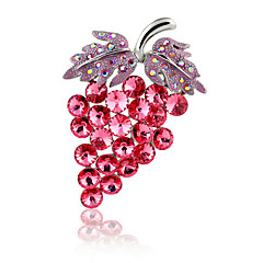 cheap Pins and Brooches-Women's Girls' Brooches AAA Cubic Zirconia Bohemian Gold Plated Red Jewelry For Christmas Wedding Party Ceremony