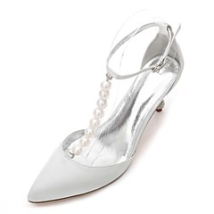cheap Wedding Shoes-Women's Shoes Satin Spring / Summer T-Strap / Novelty / D'Orsay & Two-Piece Wedding Shoes Kitten Heel / Cone Heel / Low Heel Pointed Toe