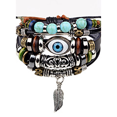 cheap -Men's Leather Bracelet Strand Bracelet Hip-Hop Personalized Leather Alloy Round Evil Eye Jewelry For Stage Street