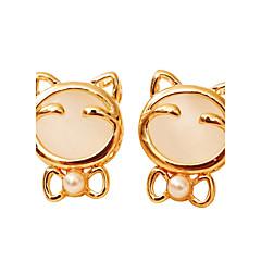 cheap Earrings-Women's Bohemian Synthetic Opal / AAA Cubic Zirconia Gold Plated Hoop Earrings - Bohemian White Animal Earrings For Party / Birthday /