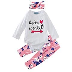 billige Sett med babyklær-Baby Pige Blomster Indendørs / Afslappet / Hverdag / udendørs Blomstret Langærmet Normal Normal Bomuld Tøjsæt Hvid 100