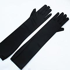 Stretchsatijn spandex Fabric Operalengte Handschoen Bruidshandschoenen Feest/uitgaanshandschoenen With Parels