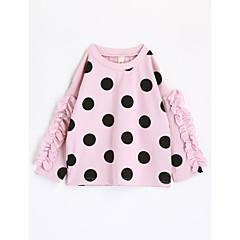 tanie Odzież dla dziewczynek-Brzdąc Dla dziewczynek Groszki Długi rękaw Bawełna T-shirt Rumiany róż 100