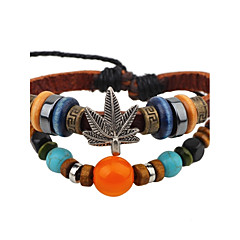cheap -Men's Women's Leather Bracelet Vintage Adjustable Leather Alloy Round Leaf Jewelry For Casual Going out
