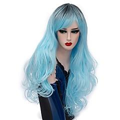 baratos Perucas Sintéticas-Perucas sintéticas / Perucas de Fantasia Onda Profunda Cabelo Sintético Cabelo Ombre Azul Peruca Mulheres Longo Sem Touca