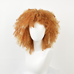 cheap Wigs & Hair Pieces-Synthetic Wig Women's Kinky Curly Blonde Synthetic Hair African American Wig / For Black Women Blonde Wig Medium Length Capless Orange