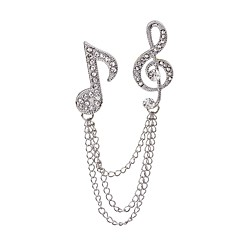 cheap Brooches-Women's Brooches Rhinestone Fashion Rock Rhinestone Alloy Music Notes Jewelry For Casual Stage