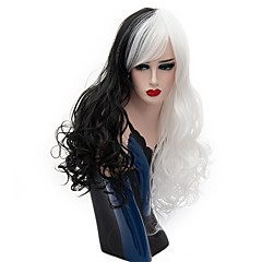 cheap Wigs & Hair Pieces-women synthetic wig capless long deep wave black white halloween wig costume wigs Halloween