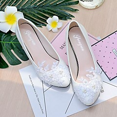 Women's Wedding Shoes Slingback Spring Fall Lace Leatherette Wedding Party & Evening Dress Applique Imitation Pearl Flower Low Heel Cone