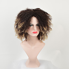 cheap Wigs & Hair Pieces-Synthetic Wig Women's Kinky Curly Blonde Synthetic Hair Middle Part / African American Wig Blonde Wig Medium Length Capless Black / Gold