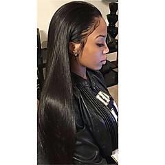 tanie Peruki syntetyczne-Syntetyczne koronkowe peruki Prosto Z baby hair Naturalna linia włosów Czarny Damskie Koronkowy przód Peruka naturalna Długo Włosy