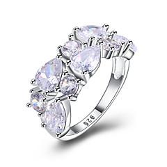 levne -Dámské Široké prsteny Kubický zirkon Módní Bling bling Zirkon Round Shape Šperky Pro Svatební Párty