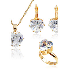 Women's Fashion Simple Style Zircon Gold Plated Earrings Necklace For Wedding Daily Wedding Gifts