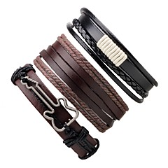 cheap -Men's Women's Leather Bracelet Wrap Bracelet Handmade Adjustable Leather Round Guitar Jewelry For Gift Going out