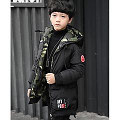 billige Jakker og frakker til drenge-Børn Drenge Ensfarvet / camouflage dun- og bomuldsforet
