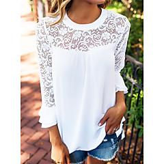 Damen Solide Bluse, Rundhalsausschnitt Polyester