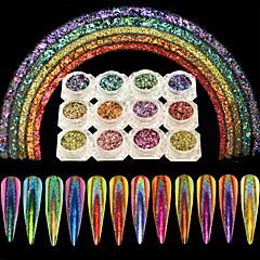 levne Péče o nehty-12ks hřebík holografické nepravidelný třpyt vločka prášek páv svítící zrcadlový efekt laserový prach oslňující pigment nehtový salon diy