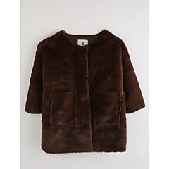 billige Jakker og frakker til piger-Baby Pige Ensfarvet 3/4-ærmer Bomuld Jakke og frakke