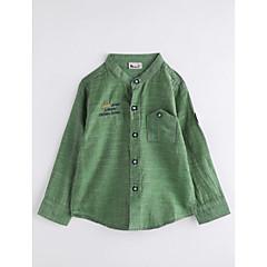 billige Overdele til drenge-Baby Drenge Ensfarvet Langærmet Bomuld Skjorte Army Grøn 100
