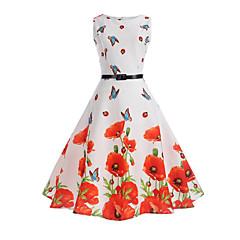 baratos Roupas de Meninas-Menina de Vestido Aniversário Para Noite Feriado Sólido Floral Primavera Verão Algodão Poliéster Sem Manga Vestidos Estilo vintage