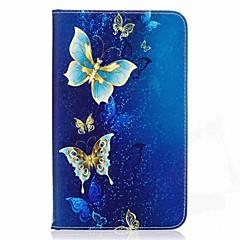 billige Nettbrettetuier-butterfly mønster kortholder lommebok med stativ flip magnetisk pu lærveske til Samsung Galaxy Tab en 7,0 t280 t285 7,0 tommers PC-PC