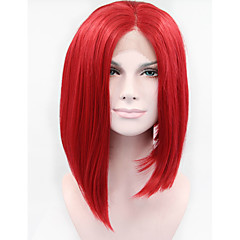 billiga Peruker och hårförlängning-Syntetiska snörning framifrån Rak Syntetiskt hår Röd Peruk Dam Korta Spetsfront Röd