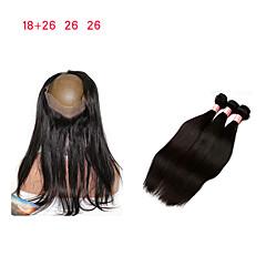 Χαμηλού Κόστους Εξτένσιος μαλλιών με φυσικό χρώμα-Μαλαισιανή Κλασσικά Remy Τρίχα 3 πακέτα με κλείσιμο Υφάνσεις ανθρώπινα μαλλιών Μαύρο Επεκτάσεις ανθρώπινα μαλλιών