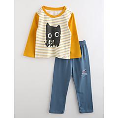 ieftine Lenjerie & Șosete Băieți-Băieți Pijamale Dungi Desene Animate Bumbac Toamnă Manșon Lung Portocaliu