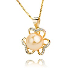 cheap Necklaces-Women's Flower Classic Elegant Pendant Necklace Pearl Pearl Sterling Silver Imitation Pearl Gold Pearl Pendant Necklace , Engagement