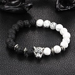 cheap Bracelets-Men's Women's Bracelet Strand Bracelet Onyx Natural Handmade Stone Alloy Round Leopard Jewelry Party Gift Costume Jewelry Black