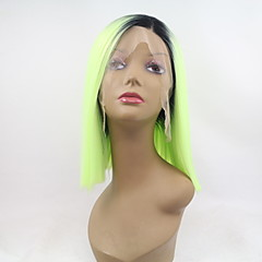 cheap Wigs & Hair Pieces-Synthetic Lace Front Wig Women's Straight Green Bob Synthetic Hair Ombre Hair Green Wig Short Lace Front Black / Green