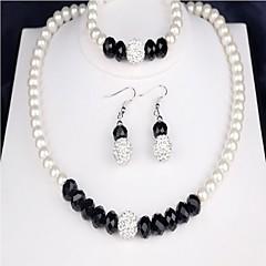 baratos Conjuntos de Bijuteria-Mulheres Zircônia Cubica Conjunto de jóias - Pérola Clássico Incluir Branco Para Casamento / Presente / Brincos
