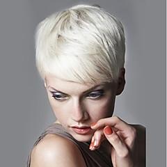 billiga Peruker och hårförlängning-Human Hair Capless Parykar Äkta hår Rak Sidodel Korta Maskingjord Peruk Dam