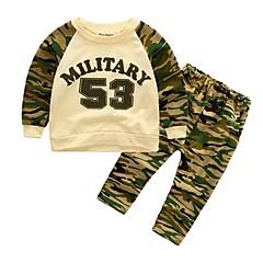 billige Tøjsæt til drenge-Drenge Tøjsæt camouflage, Bomuld Alle årstider Langærmet Afslappet Aktiv Army Grøn