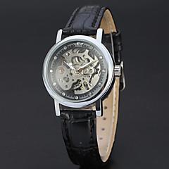 61ad1f9a628 WINNER Mulheres Relógio Esqueleto Relógio de Pulso Automático - da corda  automáticamente Couro Preta 30 m Gravação Oca Analógico senhoras Vintage  Casual ...